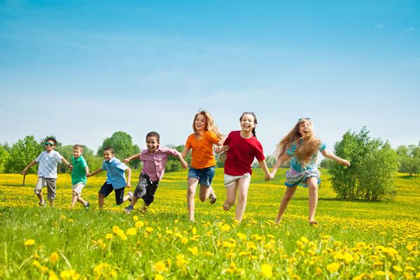 kids running field