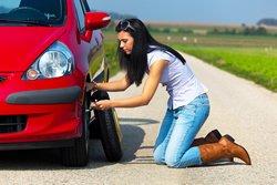 Woman flat tire