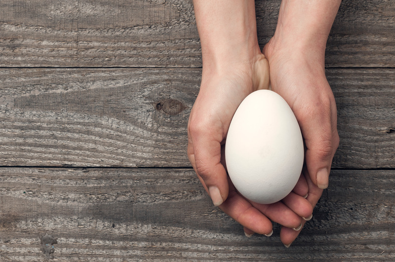 Easter concept, woman hold a big white goose egg in her hands on a wooden table